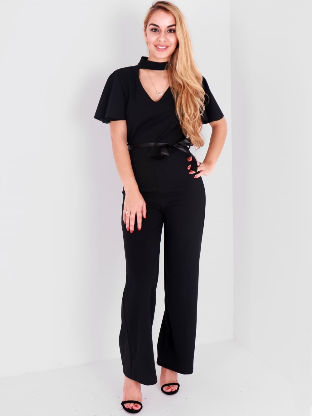 877d387f8e0 Black Short Cape Sleeve Jumpsuit - Shop Claudia Myers Boutique