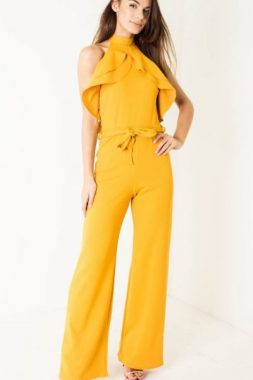 Yellow Belted Ruffle Jumpsuit