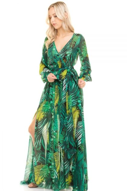 Palm Green Print Dress 2