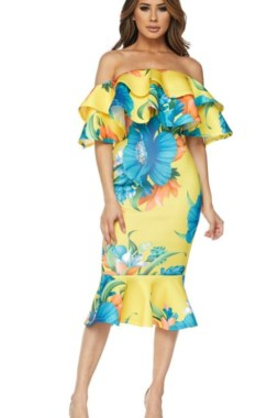 Ruffle Off Shoulder Yellow Flora