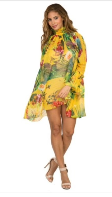 Floral Yellow Free Flow Dress