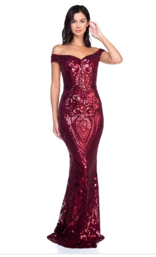 8a61e60d98982 Avery Wine Red Sequin Dress
