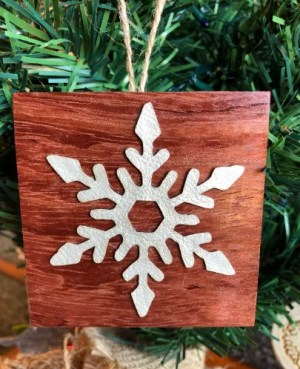 Snowflake wood Christmas ornament