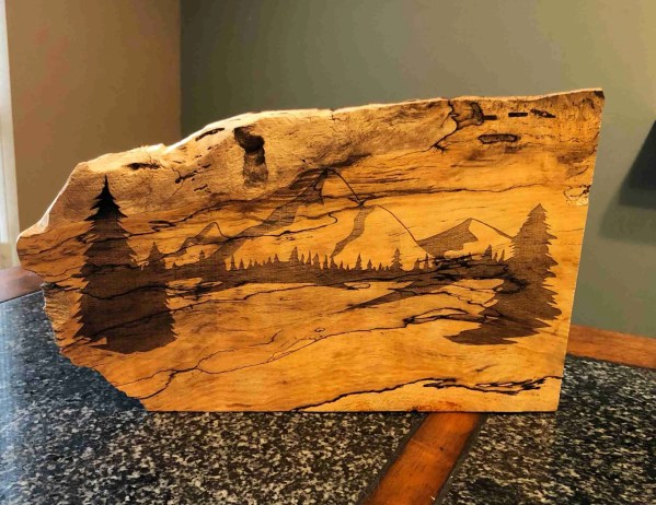 laser etched engraved mountain scene