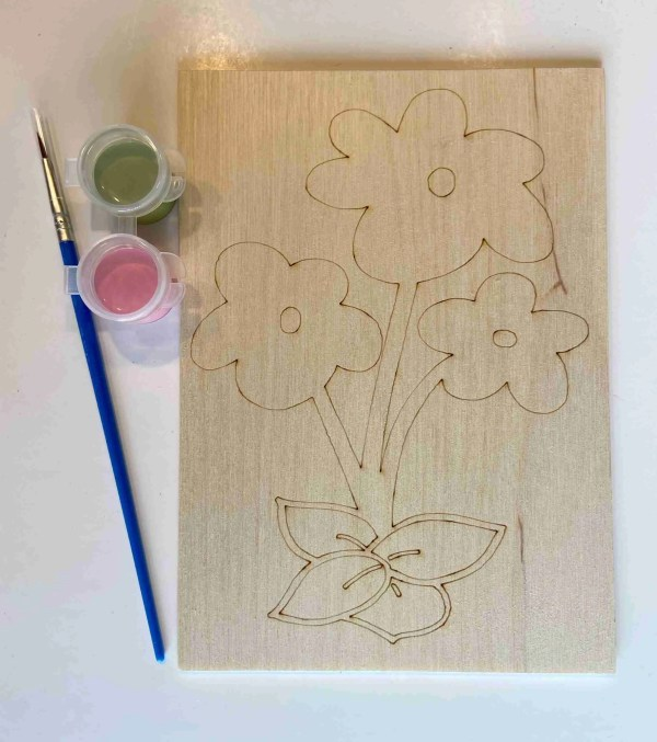 flowers paint kit laser traced outlines