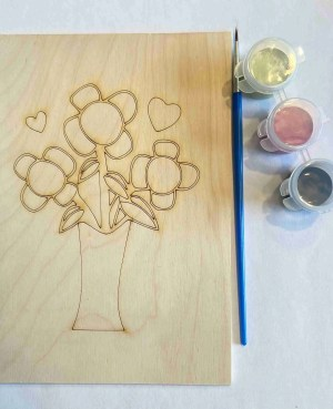 Happy Mother's Day flowers in vase paint kit