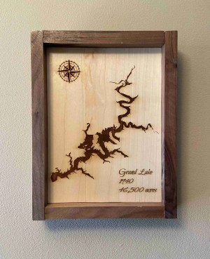 Laser engraved Grand Lake map