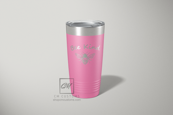 bee kind 20 ounce laser engraved tumbler
