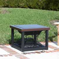 Cocktail Table Fire Pit Bronze Finish Hammer Tone