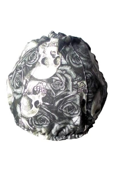 black and white skulls and roses back