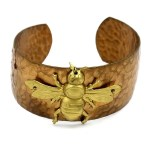 Hammered brass cuff with brass bee.