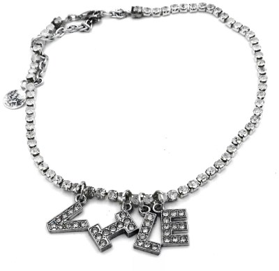 """Y2K style rhinestone necklace with """"vile"""" words."""