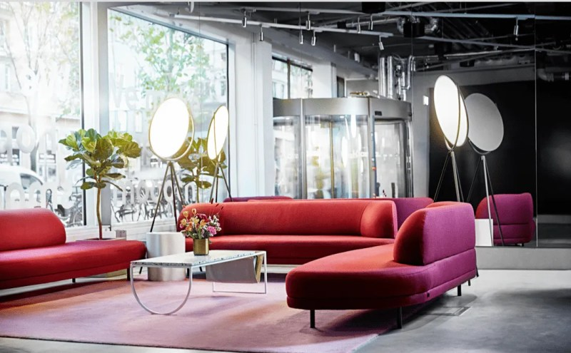 Lobby with red sofas