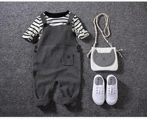 Autumn baby  clothes Pocket Knitted baby Rompers Overalls Jumpsuits - ShopeeBazar