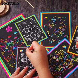 10pcs Two-in-one Magic Color Scratch Art Paper Coloring Cards Drawing Toys for Children - ShopeeBazar