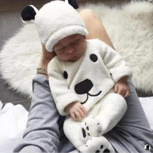 3Pcs Newborn Baby Girls Boy Long Sleeve Pullovers Top Footies Pants Hat Outfits Set - ShopeeBazar
