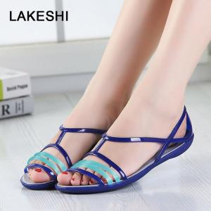 Candy Color Women Sandals Croc Jelly Shoes Summer Flat Sandals - ShopeeBazar