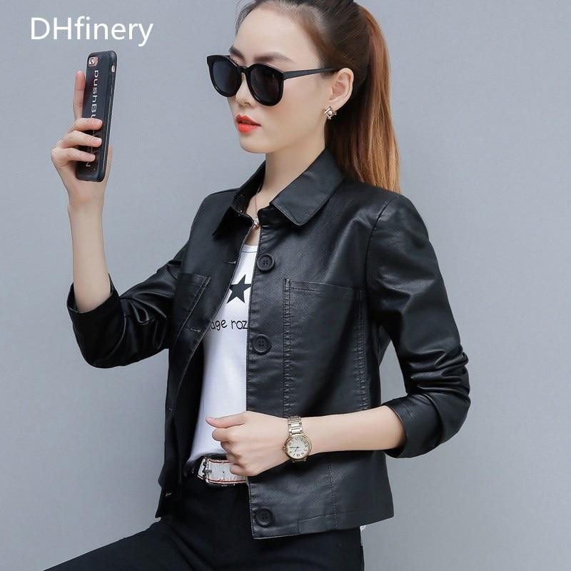 DHfinery leather jacket women Fashion lapel Slim Short