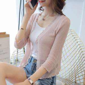 2018 new Cardigan female The summer air-conditioning short silk cardigan shirt a thin coat of black fungus