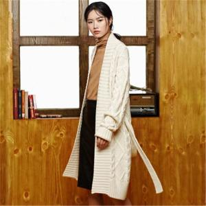 100% hand made pure wool Vneck thick knit women fashion solid loose H-straight sash long cardigan sweater one&over size