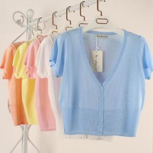 10 Candy Colors Size M-L Summer Spring Women V-Neck Knitted Casual Loose Sweaters Cardigans Lady Short Sleeve Knitting Outwear