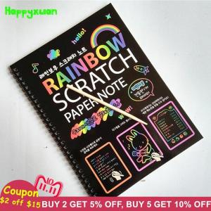 19*26cm Large Magic Color Rainbow Scratch Paper Note book Kid Doodle - ShopeeBazar