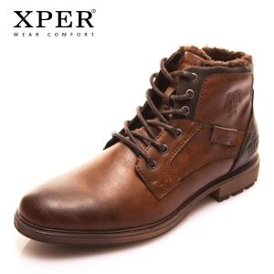 Autumn Winter Fashion Men Boots Vintage Style Casual Men Shoes Lace-Up Warm Plush Waterproof Motorcycle Boots XHY12504BR/M - ShopeeBazar