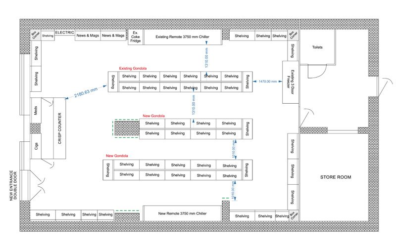 Shop Floor Plan And Shop Refitting Drawing for Planning
