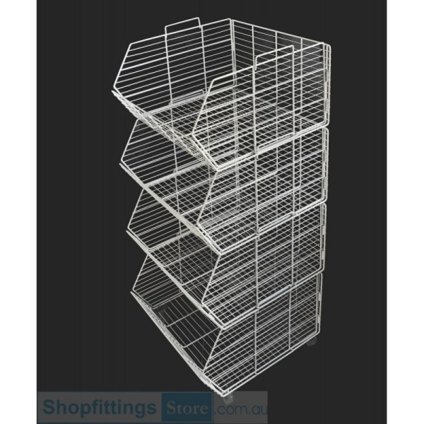 Stacking Wire Basket Stand Wheels White