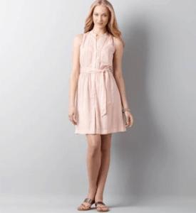 Ann Taylor LOFT Pintuck Dot Trim Shirtdress