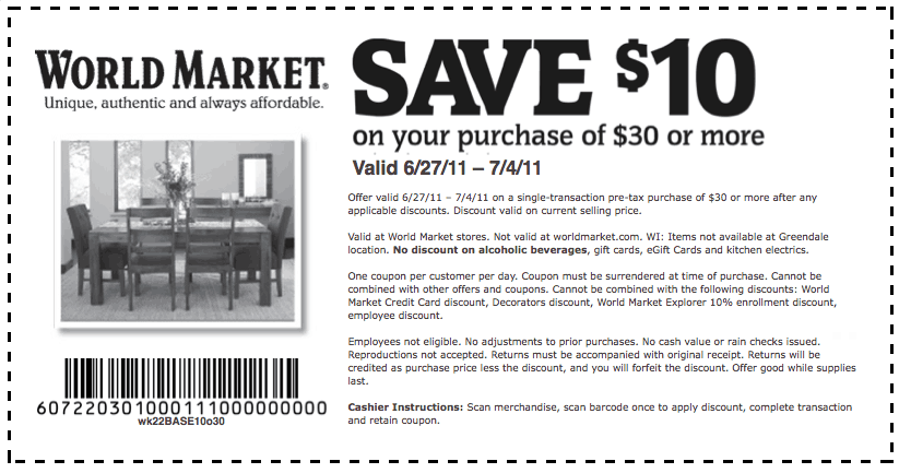 World market coupon in store printable