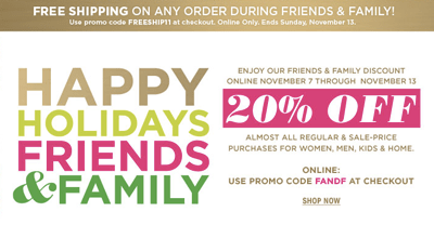 Bloomingdales Friends & Family Sale November 2011