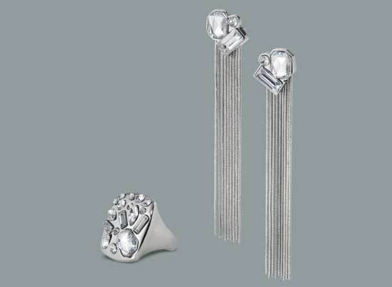 Prabal Gurung for Target Crystal stone ring in silver, $14.99 Crystal stone tassel earrings in silver, $16.99