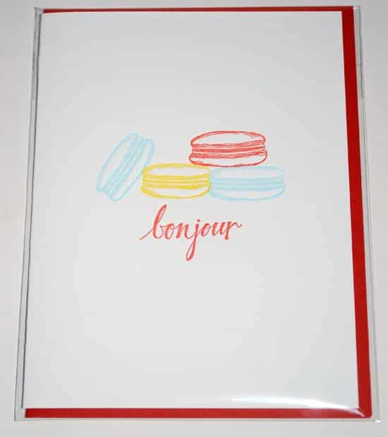 Bonjour Note Card with Macaron