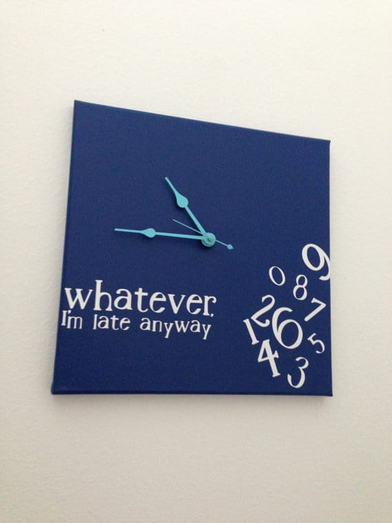 Whatever , I'm late anyway clock (navy w/ turquoise)