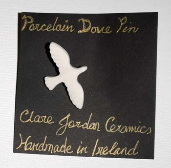 Porcelain Dove Pin from Clare Jordan Ceramics