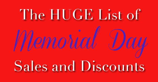 Huge List of Memorial Day Sales and Discounts