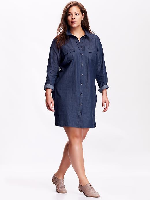 Old Navy Women's Plus Size Chambray Shirt Dress