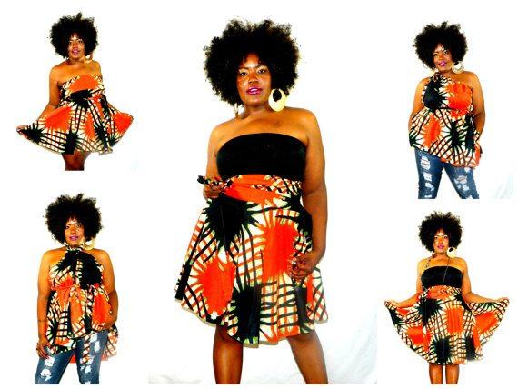 African Print Convertible Skirt