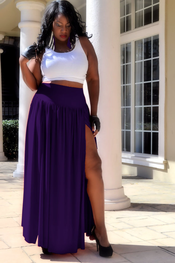 Handmade Plus Size Clothing: Purple Maxi Skirt from Spoiled Diva | ShopGirlDaily.com