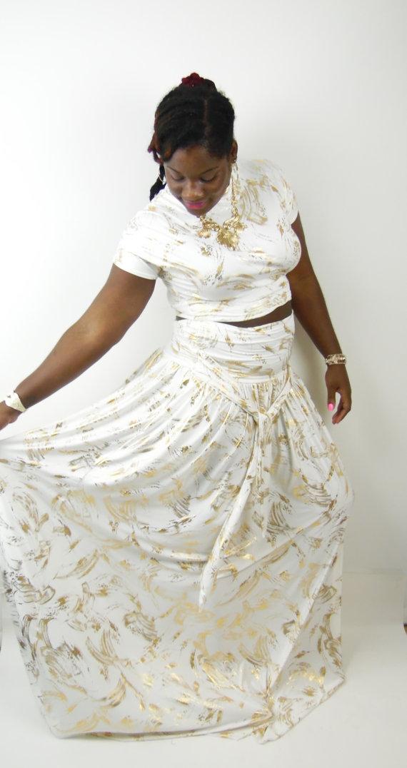 Plus Size High Waist Foil Print Skirt from Thick Chix | ShopGirlDaily.com