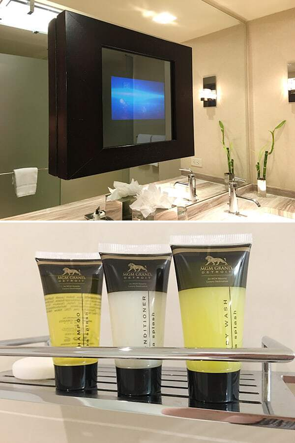 Amenities in the bathroom at the MGM Grand Detroit
