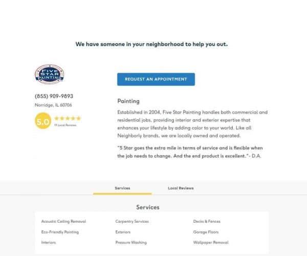 Neighborly 1: Request an appointment