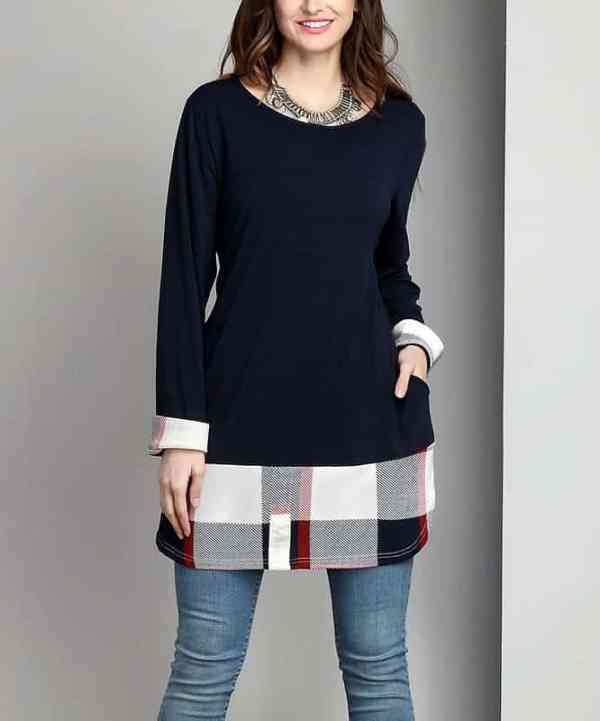 White Plaid Split-Hem Tunic
