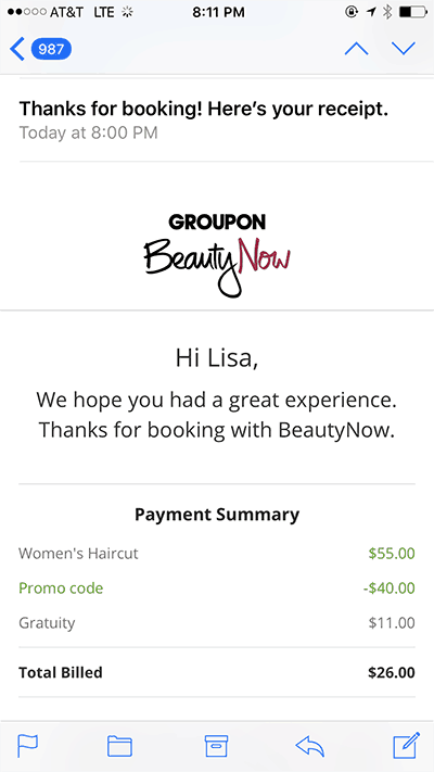 Groupon BeautyNow Charges