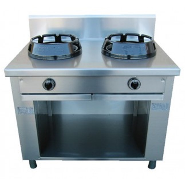 Cucina wok due fuochi a gas