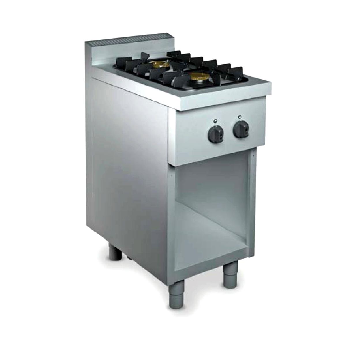 Cucina professionale due fuochi Gas su armadio 9 kW