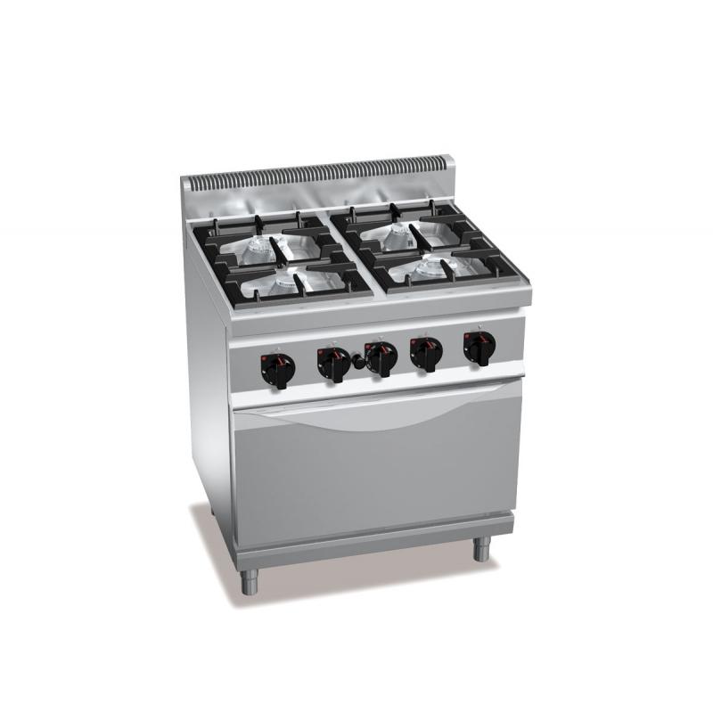 Cucina professionale 4 fuochi Gas con forno a Gas