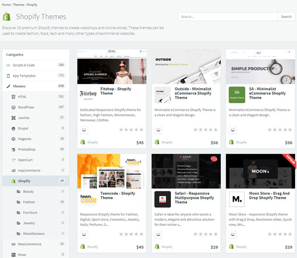 Where can you buy and download Shopify Themes? - Shopify Tips