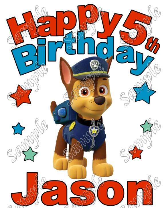 Happy Birthday PAW Patrol Chase Personalized Custom T